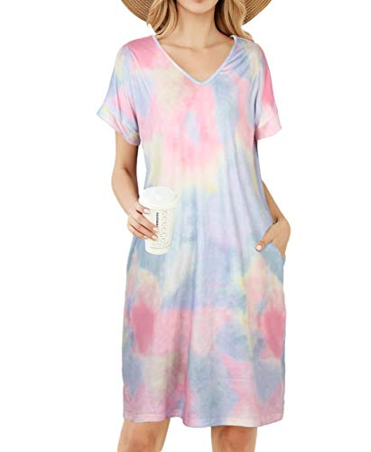 LittleMax Dresses for Women,Ladies Lounger House Dress Tie Dye Printed Soft Nightgown Women Sleepwear Nightgown Nightshirt Comfy Pajamas Nightdress with Pockets Multicolor M