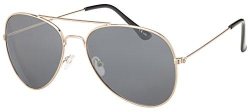 Originale La Optica UV400 Occhiali da Sole Unisex Specchiata Stile Aviatore - Confezione Singola Montatura Oro (Lenti: Grigio)