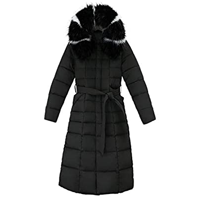 Women's Hooded Long Down Jacket Maxi Down Parka Puffer Coat Winter Hooded Coat Casual Loose Thick Overcoat Outwear (M, Black)