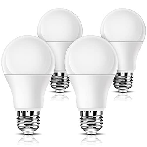 Full Spectrum Light Bulb 4PK, 6000K Natural Sunlight Bulbs, Bright Happy Light Bulbs 9W 60W Equivalent, Cool White Comfortable Light, A19, E26/E27