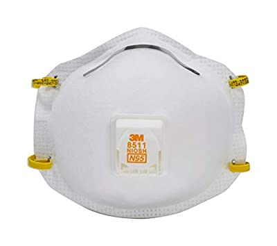 3M 8511 Sanding and Fiberglass N95 Cool Flow Valved Respirator, 5-Pack by 3M