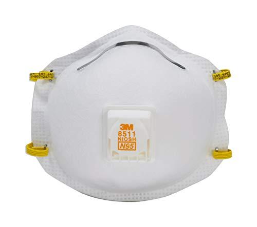 3M 8511 Sanding and Fiberglass N95 Cool Flow Valved Respirator, 5-Pack