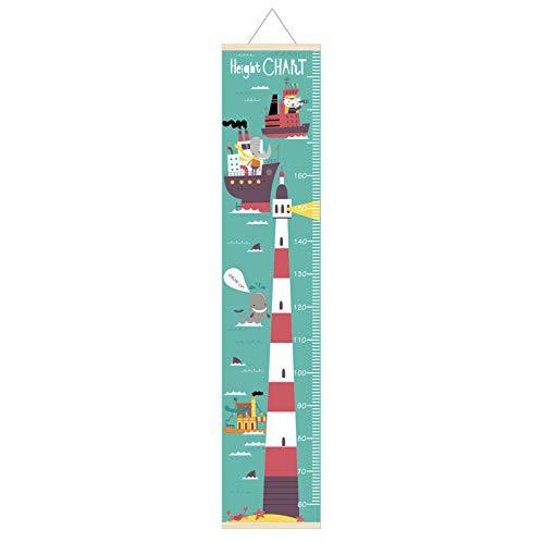 SWECOMZE Kinder Messlatte 30 * 142cm Abnehmbar Hängend Wachstum Diagramm Messleiter Lineal wasserdichte Höhentabelle für Baby Kinderzimmer Schlafzimmer Wanddekoration (Leuchtturm)