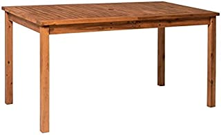 Walker Edison Furniture Company AZWSDTBR 6 Person Outdoor Patio Wood Rectangle Dining Table All Weather Backyard Conversat...