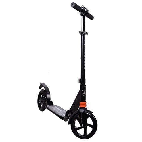 Scooter de pie Kick Scooter Rueda grande plegable for Adultos / Adolescentes / KidsAdjustable 89cm de altura, 96cm, 104cm 1 segundo diseño plegable portátil ligero Scooter de ciudad ( Color : Black )
