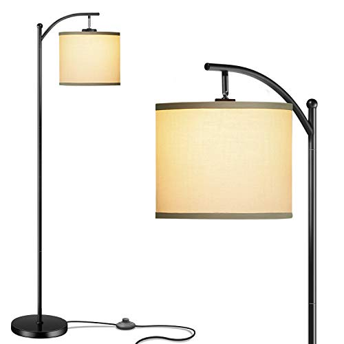 Addlon Floor Lamp for Living Room with Lamp Shade and 9W LED Bulb Modern Standing Lamp Floor Lamps for Bedrooms Black
