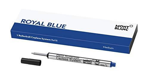 Recambio diseñado para adaptarse a su elegante bolígrafo sin tapa de Montblanc La tinta azul es perfecta para firmar documentos oficiales con el fin de demostrar que no se trata de una fotocopia El refill cuenta con una punta de bola mediana que func...