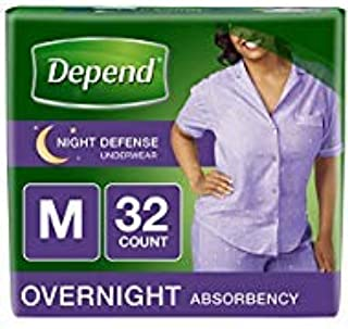 Depend Night Defense Incontinence Underwear for Women, Disposable, M, 32 Count