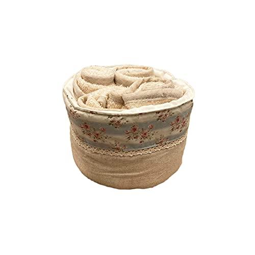 L'ATELIER17 Les Imprimes - Juego de 4 toallas de rizo con cesta de algodón, 2 variantes, color azul