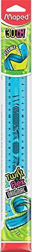 Maped Twist'n Flex - Regla plana, flexible, divertida e irrompible, 30 cm, doble graduación, color azul