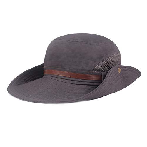 Soapow Sombrero de vaquero occidental con ala ancha, transpirable, protección solar con correa de malla para actividades al aire libre (Kaki)
