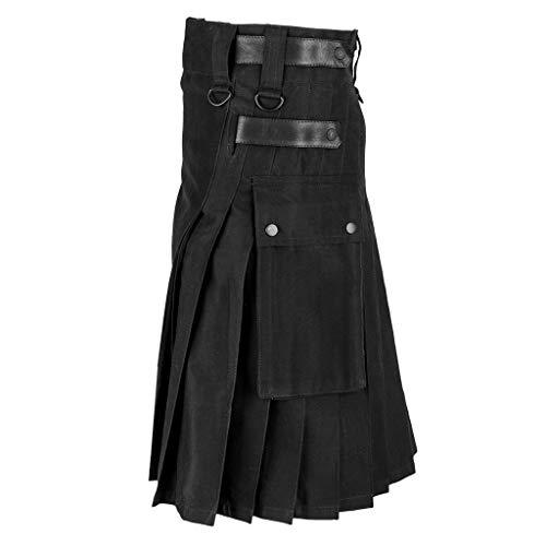 Röcke Herren Vintage Kilt Schottland Gothic Fashion Kendo Pocket Scottish Kleidung (5XL,Schwarz)
