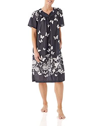 AmeriMark Women's Lounger House Dress - Short Sleeve Patio Dress w/ Side Pocket Black/White Border Large