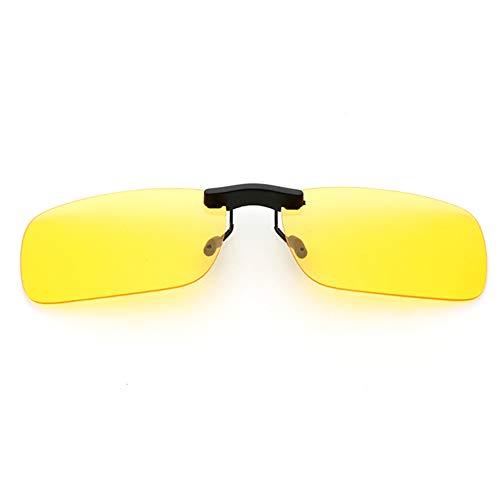新型 メガネの上からつけられる クリップオン サングラス 偏光レンズ UV400 夜間運転 偏光スポーツサングラス 付きサングラス 跳ね上げ 偏光クリップ眼鏡 紫外線カット 前掛けクリップ式サングラス 収納ケース付き 超軽量 WangToall (イエロー
