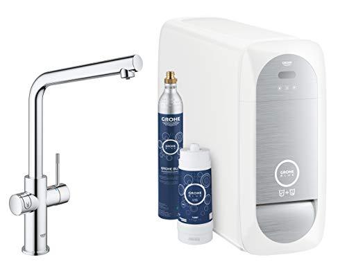 GROHE Blue Home Duo | Küchenarmatur - 2-in-1 TRINKWASSERSYSTEM und Spültischarmatur |gekühlt, gefiltert, mit KOHLENSÄURE L-Auslauf | 31454000