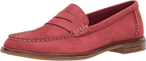 Sperry Women's Seaport Penny Loafer, Washed Red, 7.5