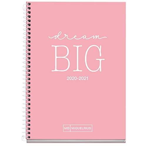 MIQUELRIUS - Agenda Escolar Write Curso Lectivo 2020-2021, Español, Día Página, Tamaño 117x174 mm, Papel 70 g, Cubierta cartón extraduro, Color Rosa