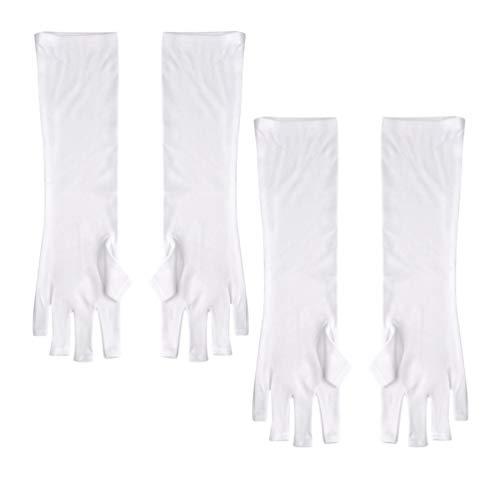 FRCOLOR Gants de Protection UV pour Manucure en Gel Gants sans Doigts 2 Paires Gants de Rayons UV Gants pour Ongles Lumière UV (Longue)