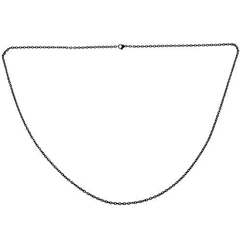 TANOU Cadena de Hombres de joyeria, Acero Inoxidable, Collar de eslabon O, Negro - 3 mm de Ancho - 80 cm de Longitud
