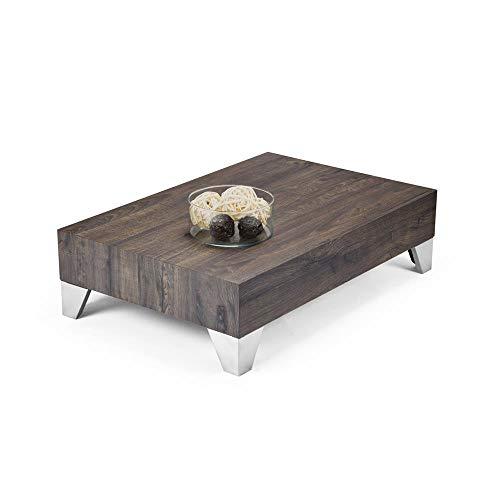 Mobili Fiver, Tavolino da Salotto, Evolution 90, Rovere Scuro, 90 x 60 x 24 cm, Nobilitato/Acciaio Inox Satinato, Made in Italy, Disponibile in Vari Colori