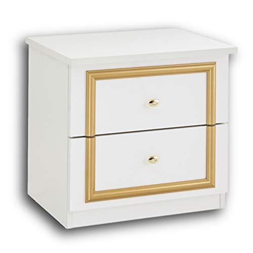 Stella Trading Claudia Königlicher Nachttisch in Weiß-Gold - Stilvoller Nachtschrank mit zwei Schubladen im Barock Design für Ihr Bett - 51 x 48 x 39 cm (B/H/T)