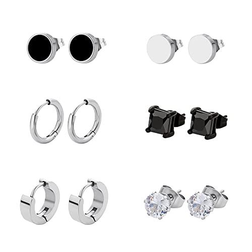 KRKC&CO - Juego de 6 pares de pendientes de acero inoxidable para hombre, color negro y plateado, con circonitas, juego de pendientes para hombres y mujeres