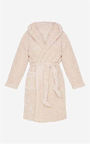 Albornoz para Mujer, Bata Gruesa y cálida, Pijama de Felpa Unisex de Invierno, Pijama de Felpa Rosa para Adultos, Lindo, Bata de baño de Franela para Adultos, Ropa de Dormir-Khaki-2-XL