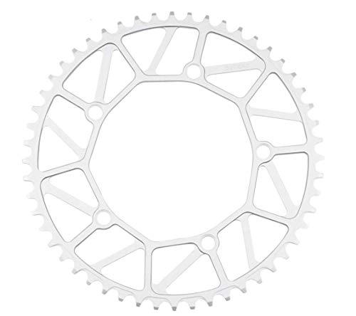 NINI Rueda de Cadena de Bicicleta Plegable, Rueda de Cadena de aleación Ultraligera CNC 130BCD 46/48/50/52/54/56 / 58T, Cadena de Cadena BMX de Velocidad 9/10/11, Color,Plata,58T