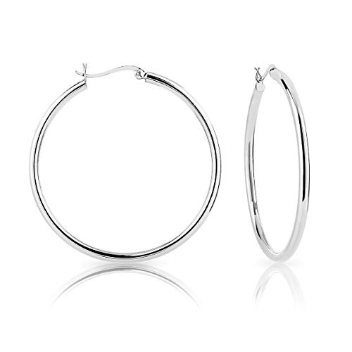 DTPSilver - 925 Sterling Silver Creole Hoops Earrings - Thickness 3 mm - Diameter 50 mm
