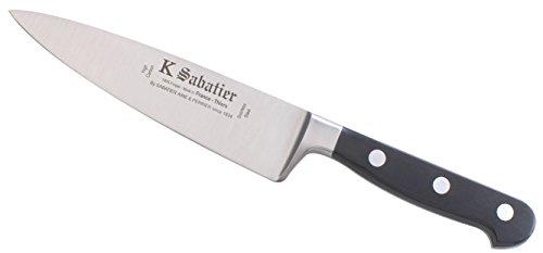 K SABATIER - Cuisine Large 15 Cm Gamme Bellevue - Acier Inoxydable - Manche Noir - 100% Forge - Entièrement Fabrique en France