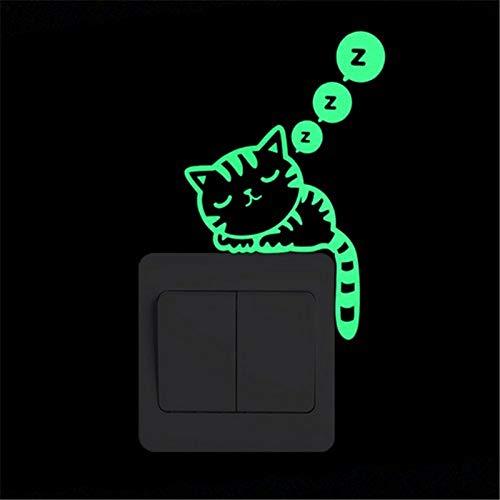 Divertido gato perro interruptor pegatinas brillan en la oscuridad Mural de pared arte habitación de niños decoración del hogar hadas estrella luna luminosa vinilo vinilo (color: 9005)