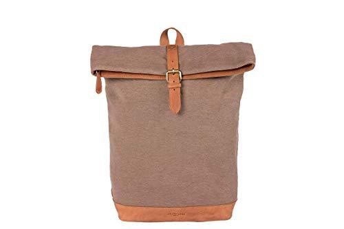 HOLZRICHTER Berlin Rolltop Rucksack No 4-3 (L) Camel/beige - Daypack handgefertigt aus 20 oz starkem Canvas und Premium-Leder