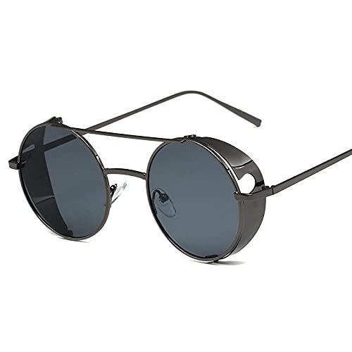 XDOUBAO Gafas de sol Gafas de sol punk, gafas de sol circulares retro, hombres y mujeres gafas gafas de sol-Película gris marco de armas