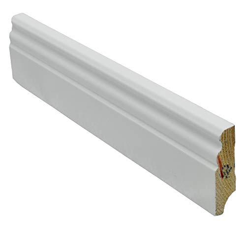 12 Meter Sockelleiste Berliner-Hamburger-Profil 58mm hoch 16mm stark 2400mm lang Fußleiste weiß lackiert Kiefer Massivholz, Farbe:weiß