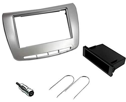 Sound-Way Kit Montaje Autoradio, Marco 1 DIN / 2 DIN Radio para Coche, Caja de Almacenamiento, Llaves de Desmontaje, Adaptador Antena, Compatible con Lancia Delta