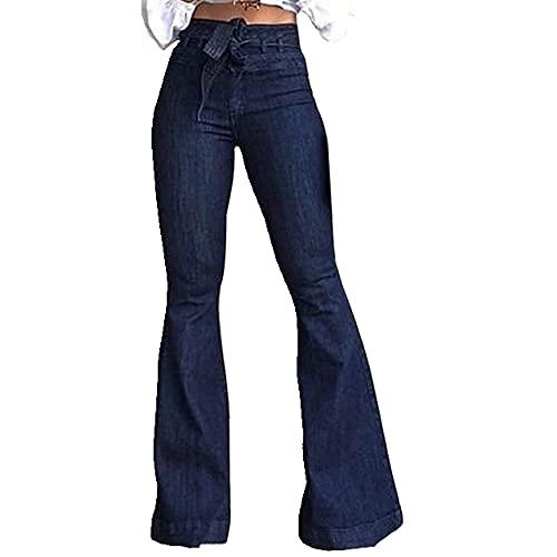 N\P Vaqueros de pierna ancha para mujer, vendaje de cintura alta, para primavera, verano, damas