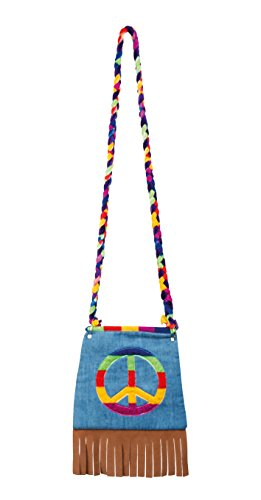 Boland 44519 – Bolso Peace, bandolera, hippie, Peace, Flower Power, accesorios, años 60, fiesta temática, carnaval