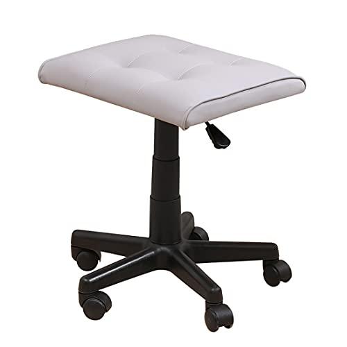 WDSWBEH Reposapiés cuadrado con piel sintética, taburete ajustable de altura con ruedas, reposapiés otomano para sillas de oficina y juegos, color blanco, piel sintética