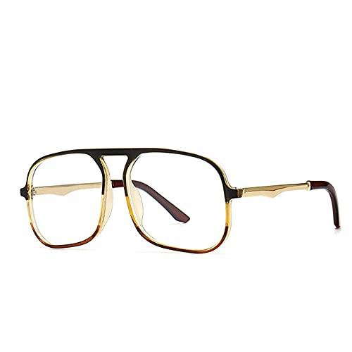 HAIGAFEW Gradiente Cuadrado Transparente Gafas Marco Anti Radiación Azul Gafas Ofice Hombres Señora Gafas De Ordenador Spectalces Proteger Los Ojos-Negro Amarillo Claro