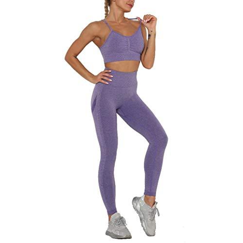 MANON ROSA Workout Sets Women 2 Piece Yoga Clothes Active Legging Sports Bra Top Lavender Small