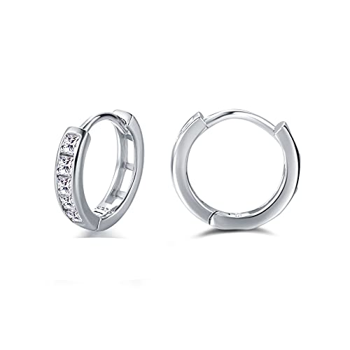 Silver Hoop Earrings for Women, 3 Pairs Small Sterling Silver Post Huggie...