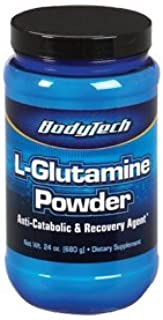 BodyTech Glutamine (Freeform Amino Acid) 4500 MG AntiCatabolic Recovery Agent, Unflavored (24 Ounce Powder)