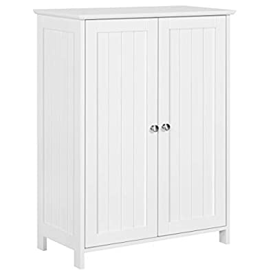 Topeakmart 31.5in H Bathroom Floor Cabinet Free-Standing 2-Door Storage Cabinet with 2 Adjustable Shelves, Anti-toppling Design, White