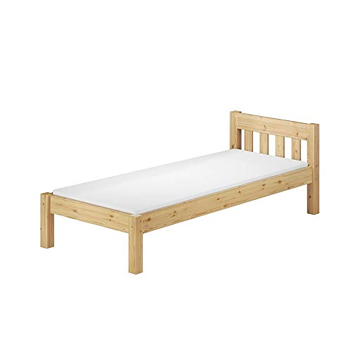 Selsey Pinewood Frame/Minimalist Sleigh Bedroom Furniture/Scandinavian Style Bed, Clear Varnished Pine, 90 x 200 cm
