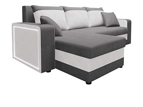 Mirjan24 Ecksofa Fenos LED Beleuchtung inkl. Fernbedienung, Eckcouch Couch mit 2 Bettkasten, Schlaffunktion, Ottomane Universal Bettfunktion Wohnlandschaft L-Form Sofa (Alova 36 + Soft 017)