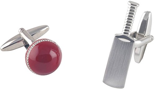 Silver / Red Cricket Bat and Ball boutons de manchette de David Van Hagen