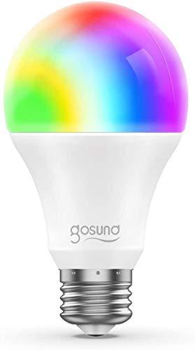 E27 Glühbirne,Gosund Alexa Lampe Wlan Mehrfarbige Dimmbare Energie Sparen Lampe,Kompatibel mit Amazon Alexa Echo, Echo Dot Google Home,Sprachsteuerung,Timer,Kein Hub Erforderlich,2.4GHz(1PACK)