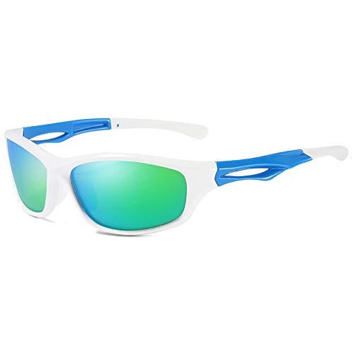 Hancoc Gafas de sol deportivas para ciclismo Wild TR90, color negro/blanco/plateado para hombre y mujer con las mismas gafas de sol (color: blanco)