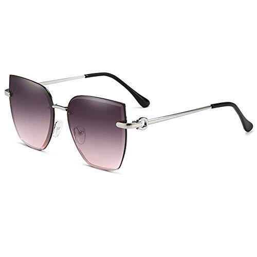 Gafas De Sol para Hombre Y Mujer Moda Cuadrado Gafas ProteccióN para ConduccióN Gafas De Deportes Al Aire Libre De Pesca De Moda Regalo de San Valentín (Color : Silver Gray Pink)