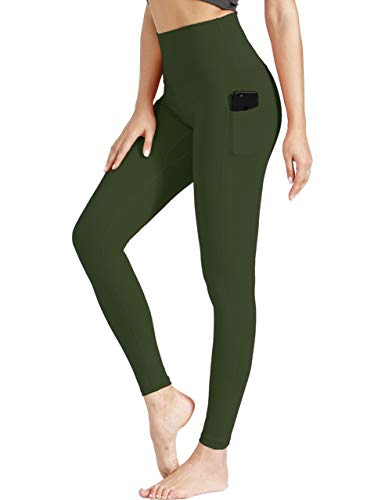 VALANDY Yoga Leggings with Pockets Women High Waist Tummy Control Stretch Workout Running Athletic Pants Olive Green